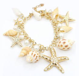 Wholesale Gold Seashell Charms - 10pc a lot Summer sandbeach Jewelry Gold Plated Starfish Seashell Conch Pearl Series For woman Fashion Charms Bracelet