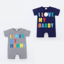 Wholesale Love Letters Box - 2017 Ins Infants clothing Romper Letters Bunny Onesies Bodysuits short sleeve I love my mummy Daddy Infants clothes boxes 0-2years