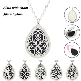 Wholesale Diamond Shape Necklace - Panpan jewelry! wholesale drop shape perfume locket 316L stainless steel diffuser locket necklace aromatherapy locket necklace