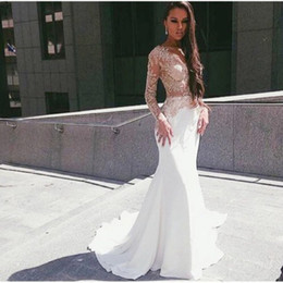 Wholesale Sexy Back Lace Wedding Dresses - Vestido De Festa 2017 White Satin Long Sleeves Mermaid Prom Dresses Long Evening Gowns Appliques Lace Formal Party Gowns