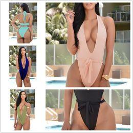 Wholesale Ice Silk Swimwear - One Piece Swimsuit 2017 new Sexy Swimwear Women Bodysuit Bathing Suit Swim Vintage Summer Beach Wear Bandage Low-cut Monokini Swimsuit