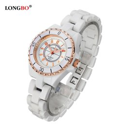 Wholesale Easy Read Watch - Luxury White Ceramic Water Resistant Classic Easy Read Sports Women Wrist Watch Free Shipping Top Quality Lady Ceramic watches