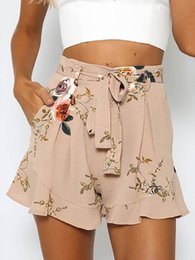 Wholesale Lady Summer Short Legging - Fashion women sexy shorts summer lady short pants floral print clothing loose style in wide legs drawstring 4 size OL-8711