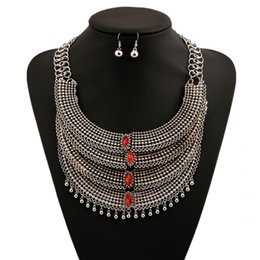 Wholesale Choker Necklace Set Statement - Fashion Silver Chunky Statement Crystal Choker Necklace And Earrings Big Gemstone Women Luxury Jewelry Set Retro Bijoux Party Accessory