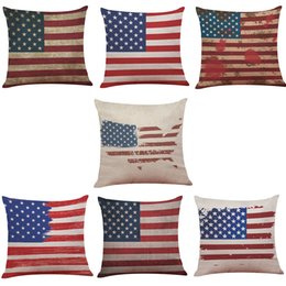 Wholesale 18x18 Pillow Cases - American Flag Pattern Linen Cushion Cover Home Office Sofa Square Pillow Case Decorative Cushion Covers Pillowcases Without Insert(18X18)