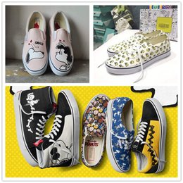 Wholesale Old Pvc Women - Vault X Peanuts Snoopy Sk8-Hi Old Skool Authentic Shoes 2017 Men Women Black White Pink Blue Bones Charlie Brown Joe Cool Slip OnTrainers