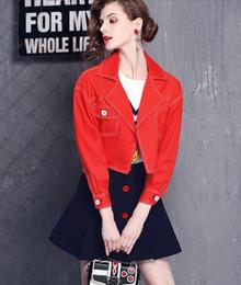 Nouveau Femmes Printemps Automne Mode Deux pièces Ens veste à manches longues rouge court + Navy A-ligne courte jupe Vestes Casual Manteaux ? partir de fabricateur