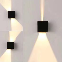 Современный водонепроницаемый куб регулируемый 12 Вт COB открытый светодиодные настенные лампы IP65 алюминиевые настенные светильники сад крыльцо бра украшения свет от Поставщики наружная светодиодная настенная лампа ip65