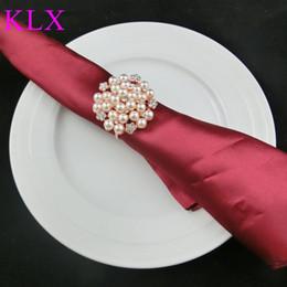 Wholesale Wholesale Napkins - Wholesale !(200pcs lot) Rose Gold Finish Ivory Pearl Rhinestone napkin ring for wedding decoration, Pre-Order