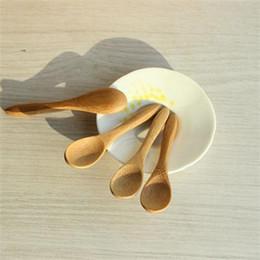 Wholesale Wooden Salt Spoons Wholesale - Wholesale- Mini Wooden Honey Spoons For Kids Kitchen Using Condiment Salt Sugar Spoon 9.2*2.0cm Cucharas Colheres