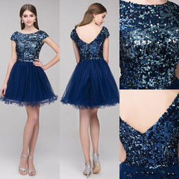 Wholesale Silver Mini Sequin Prom Dress - cheap Sparkly sequin Short Mini Homecoming Dresses Tulle jewel High Quality A-line Party Graduation Prom Dresses