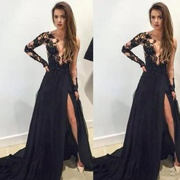 Wholesale Transparent Nude Women - Black Split Prom Dresses Sheer Bodice Lace Appliques Long Transparent Sleeve Elegant Chiffon Arabic Evening Dresses For Women