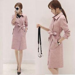 Wholesale Trench Coat Pink Korean - New Arrival Hot Sale Fashion Noble Female Slim Spring Korean High Quality Imported Pink Suede Windbreaker Deer Velvet Long Trench Coat