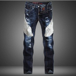 Wholesale Stylish Casual Pants - Wholesale-Unique Stylish Beadings new mens Luxury jeans straight ripped jeans fashion hip hop for men casual denim biker pants jeans