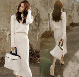 Wholesale Women Overcoat Korea - Korea new women's Overcoat sweaters autumn and winter knitting fashion Set sweater pack hip skirt two-piece thickening dress