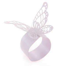 Wholesale Butterfly Napkins - Wholesale- 50x Paper Napkin Ring Holder Laser Cut Butterfly Wedding Decor Light Purple New Wedding Decoration