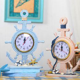 Wholesale Desktop Decorations - Wooden clock mediterranean rudder clock desktop decoration for study or living room wedding gifts for guests 9.44x12.6 inch