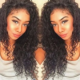 Wholesale Remy Deep Curly - 360 Lace Frontal Wigs 130% Density Full Lace Human Hair Wigs For Black Women Brazilian Virgin Deep Curly Wave Lace Front Wigs