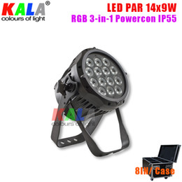 Led rgb par can online-Alta calidad interior IP55 Slient Powercon RGB 3-en-1 14x9W LED PAR luz / lata