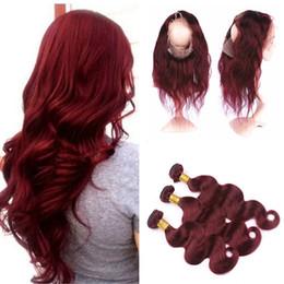 итальянский человеческий волос 22 дюйма Скидка 9А необработанные Индийский объемная волна кружева фронтальная с пучками 360 бордовый #99J объемная волна волос Weave с 360 кружева фронтальная с ребенком волос
