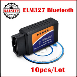 Wholesale Supports Obd2 Protocols - DHL Free 10 Pcs Lot ELM327 Bluetooth Adapter V2.1 Version ELM327 2.1 Car Scan Tool Support 7 OBD2 OBDII Protocols Multi-Language