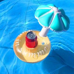 Wholesale Modern Swimming - Wholesale- Cute PVC Inflatable Sun Umbrella Coasters Drink Holder Pool Party Decorations Swim Floats 2 Colors