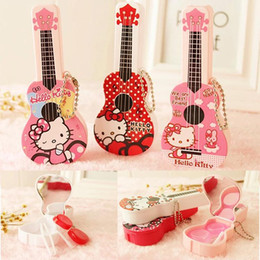 Wholesale Wholesale Contact Eye Lenses - Hello Kitty Contact Lens Storage Set Cute Guitar contact lenses case box lens Companion box Lens Holder Case Tweezers Eye Care With Package