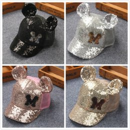 Wholesale Children Fashion Summer Hats - 2017 baby summer hats caps hats wholesale Fashion Mickey M Sequins Mesh With Ears Children Caps Adjustable Free Shipping Kids Baseball Caps