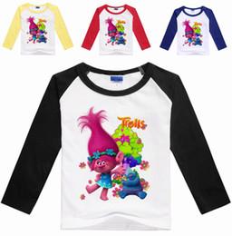 Wholesale organic cotton tee shirts wholesale - Trolls T shirt T-shirts Kids Girls Trolls winter long sleeve Tees Cotton long sleeve Clothing for Children Hot sale!!! TA111-1