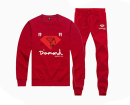 Wholesale Fleece Lined Hoodie Xl - M20874115 Hot-sale Diamond Supply Sweatshirts +PANTS suit for Men Fleece Lined Hip Hop Skateboard Crewneck hoodies S-5XL
