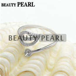 Wholesale Sterling Silver Jewelry Blanks - Bulk of 3 Pieces 925 Sterling Silver Clear Cubic Zirconia Ring Blank DIY Jewelry Findings Pearl Ring Mount