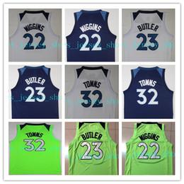 Wholesale Butler Jerseys - 2017- 2018 New Season New Brand Green White Navy Blue 22 Andrew Wiggins 32 Karl Anthony Towns #23 Jimmy Butler Jersey Basketball Jerseys
