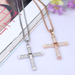 Wholesale Cross Couple Necklaces - Furious 7 with section Alloy Diamond cross necklace accessories clavicle domineering male and female couple pendant jewelry
