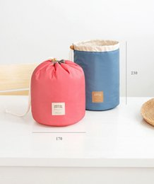 Wholesale Travel Style Korea - 2017 new Korea elegant receive bag large barrel nylon travel organizers washing store dresser hairdressing cosmetic bag bag of women