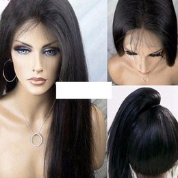 Wholesale Wigs Parts - Light Yaki Hair Lace Front Wig For free Part 3-4inch Baby Hair 1b# Off Black Woman Glueless Lace Wig for black women