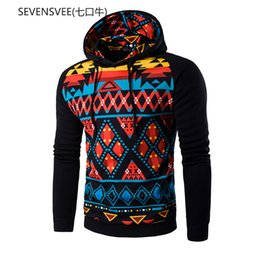 Wholesale Mens Shirts Points Sleeve - Wholesale-2016 New Hoodies Men Printed Tape Ethnic Style Shirts Mens Casual Point Raglan Sleeve Jacket Hooded Sweat-Shirt M-2XL