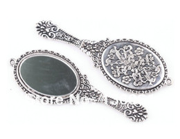 Wholesale Mirror Necklaces - Vintage Silvers Oval Glass Vanity mirror Charms Pendants For Bracelet Necklace Fashion Jewelry Findings Making DIY Accessories 20PCS Z2026