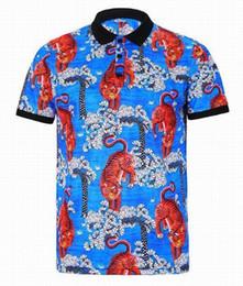 Wholesale Ralph Polo Xxl - Luxury Fashion POLO short sleeve men polo shirts Tiger Print Blue polos man women style Italy Tshirt M-XXL