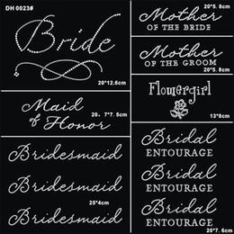 Wholesale Elements 11 - Free shipping Jubilee Wedding Pack 11 Pc Bride Iron on Rhinestone Crystal T-shirt Transfers By Jubilee Rhinestones DIY DH0023#