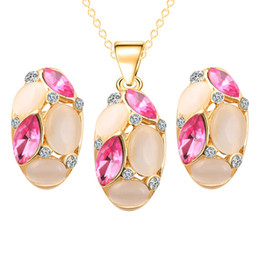 Wholesale opal earings - Crystal Opal Oval Necklace Earings Studs Jewelry Sets Gold Chain Women Bridesmaid engagement Party Wedding Jewelry Gift 162193