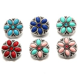 Wholesale Vintage Flower Buttons - Vintage Round 18mm Interchangeable Noosa Snap Buttons Flower Ginger Snap Jewellry DIY Necklace Bracelet Jewelry Accessory