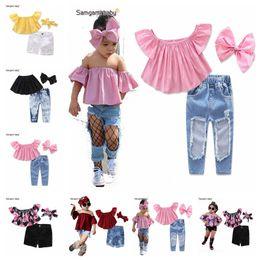 Wholesale girls pieces sets jeans - Children Set Kids Suit Outfits Girl Clothes Flat Shoulders short Sleeve Top+Jeans+headband Child 3 pcs Suit Kids Sets Girls Outfits