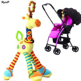Wholesale Giraffe Teether - Wholesale- New Baby Pram Bed Bells Soft Hanging Toy Animal Giraffe Handbells Newborn Rattles With BB Teether Kawaii Toys For Children Dolls