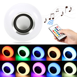 Wholesale Led Music Controller Power - Music player Wireless 12W E27 LED RGB Bluetooth Speaker Bulb power with Music Playing Light Lamp + remote controller