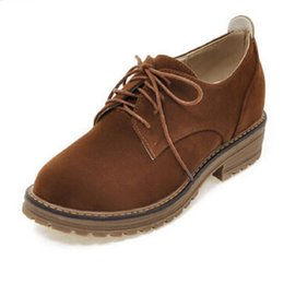Wholesale Korean Oxford Shoes - Wholesale- Retro British Style Suede Leather Shoes Woman Round Toe College Style Korean Student Shoes Oxfords For Ladies ln with Size 34-43
