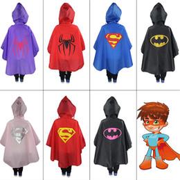 Wholesale Raincoat Spiderman - Superhero Children Raincoat Superman Spiderman Cartoon Rain Suit Super Hero Kids Waterproof Hooded Outdoor Rain Coat Rainwear for kids