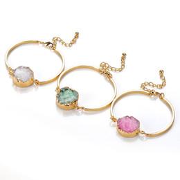 Wholesale Druzy Bracelets - New Arrival Natural Druzy Bangles For Women 18K Real Gold Plated Bracelets Bangles Brand Fine Jewelry
