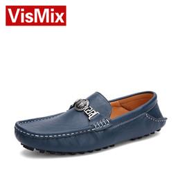 Wholesale Leather Casual Moccasins - VISMIX Mens Casual Genuine Leather shoes Fashion driving shoes Men Loafers Moccasins Slip On Men's Flats for men