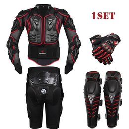Wholesale Summer Motorcycle Pants - HEROBIKER Black Motorcycle Racing Body Armor Protective Jacket+ Gears Short Pants+Motorcycle Knee Protector+Moto gloves 4pcs 1set
