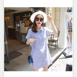 Wholesale Girl Sexy Loose Dress - 2017 Summer Fashion short sleeve Blue striped loose women dress shirt Sexy side split Elegant waistband OL girls beach dresses